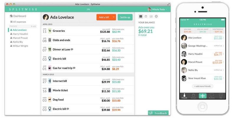 אפליקציה לניהול תקציב - split wise